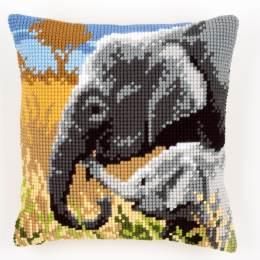Coussin point de croix amour d'éléphants - 4
