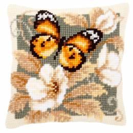 Coussin point de croix papillon noir et orange - 4