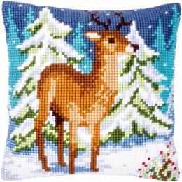 Kit coussin au point de croix cerf en hiver - 4
