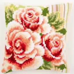 Coussin point de croix roses roses i - 4