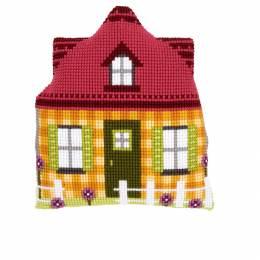 Kit coussin modelé au point de croix maison jaune - 4
