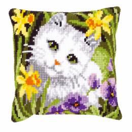Coussin point de croix chat blanc - 4