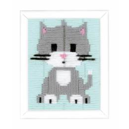 Canevas d'enfants (point lancé) chaton gris - 4