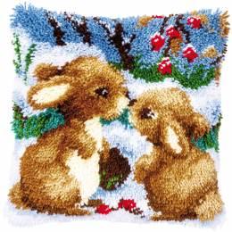 Kit coussin au point noué lapins dans la neige - 4
