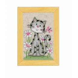 Miniatures chats dans les fleurs aida lot de 3 - 4