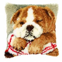 Coussin point noué bouledogue 40x40cm - 4