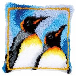 Coussin point noué 2 pingouins 40x40cm - 4