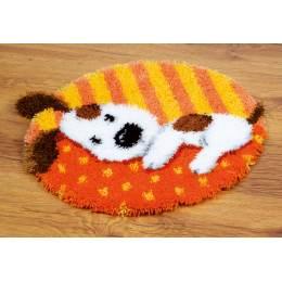 Kit tapis modelé au point noué chien blanc - 4