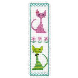 Kit marque-page chat rose et vert - 4