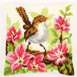 Coussin au point de croix oiseau et fleurs - 4