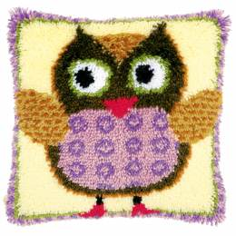 Coussin point noué Mm chouette 40x40cm - 4