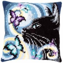 Kit coussin au point de croix chat avec papillons - 4