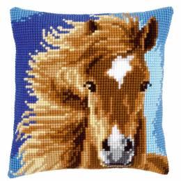 Coussin au point de croix cheval brun - 4