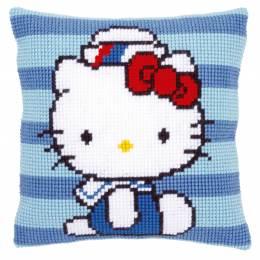 Coussin au point de croix Hello Kitty marine - 4