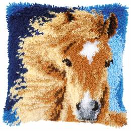 Coussin point noué cheval brun 40x40cm - 4