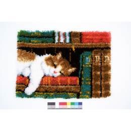 Tapis kit au point noué chat sur étégère - 4