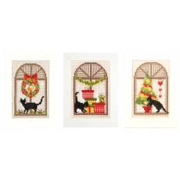 Cartes de vœux ambiance de noël aida lot de 3 - 4