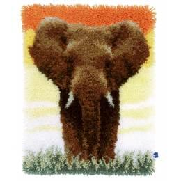 Tapis kit au point noué élèphant in the savannah - 4