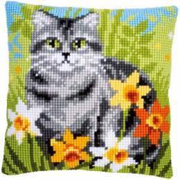 Kit coussin point de croix cat between flowers - 4