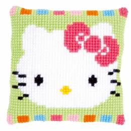 Coussin au point de croix Hello Kitty au pastel - 4