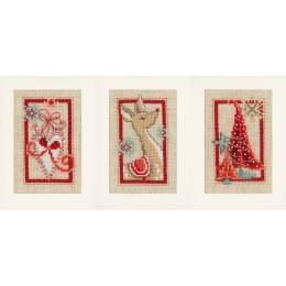Cartes de vœux symboles de noël aida lot de 3 - 4