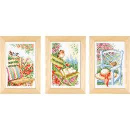 Miniatures jardin et fleurs aida lot de 3 - 4