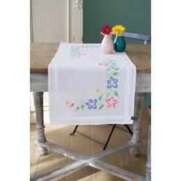 Chemin de table imprimé fleurs roses et bleues - 4