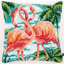 Coussin au point de croix flamants roses - 4