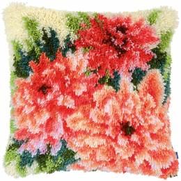 Coussin point noué dahlias roses 40x40cm - 4
