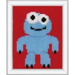 Canevas d'enfants (point lancé) petit monstre bleu - 4