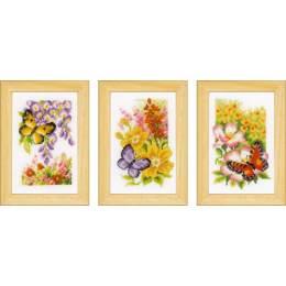 Miniatures papillons et fleurs aida lot de 3 - 4
