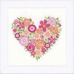 Kit au point compté coeur floral - 4