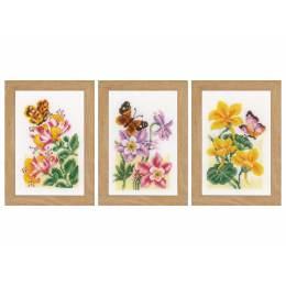 Miniatures fleurs et papillons aida lot de 3 - 4