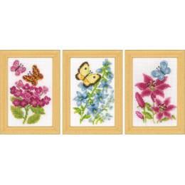 Kit miniature fleurs et papillons lot de 3 - 4