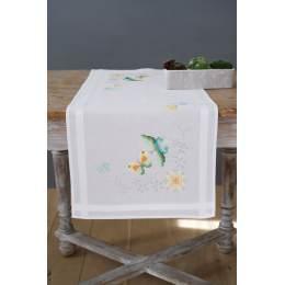 Chemin de table imprimé fleurs et papillons - 4