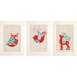 Cartes de vœux motifs d'hiver aida lot de 3 - 4