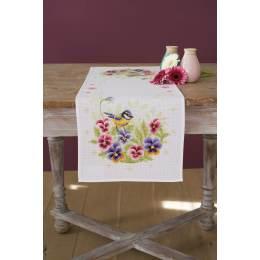Chemin de table aïda oiseau et violettes - 4