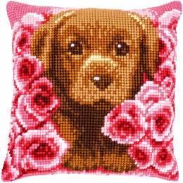 Kit coussin point de croix puppy between roses - 4