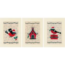 Greeting card kit christmas bird and house set de3 - 4