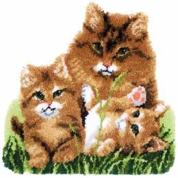 Tapis kit au point noué famille de chats - 4
