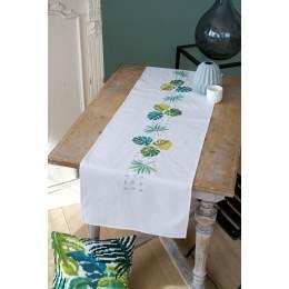 Chemin de table imprimé feuilles vertes - 4
