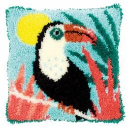 Coussin point noué toucan 40x40cm - 4