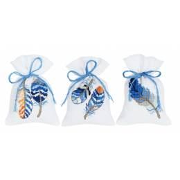 Kit sachet plumes bleues lot de 3 - 4