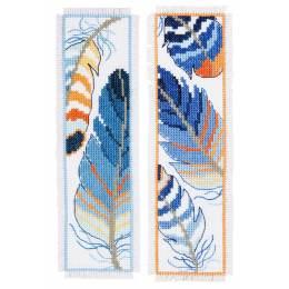 Kit marque-pages plumes bleues lot de 2 - 4