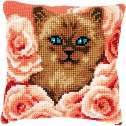 Kit coussin point de croix kitten between roses - 4