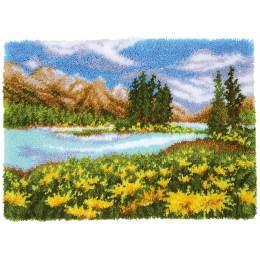 Tapis kit au point noué paysage de montagne et lac - 4