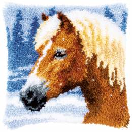 Coussin point noué cheval 40x40cm - 4