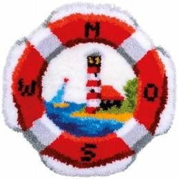 Kit tapis modelé au point noué bouée de sauvetage - 4