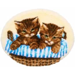 Kit tapis modelé au point noué chatons dans panier - 4