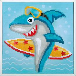 kit Diamond painting requin surf + cadre 24x24 cm - 4